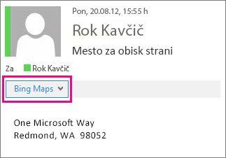 Outlookovo sporočilo s programčkom Zemljevidi Bing