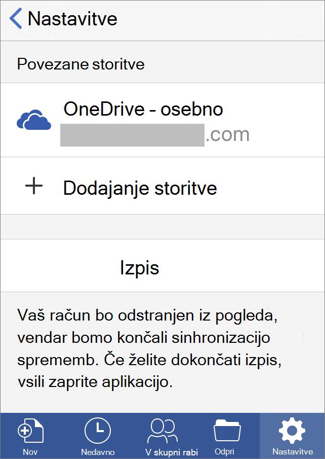 Prikazuje možnost izpisa za Office za iOS