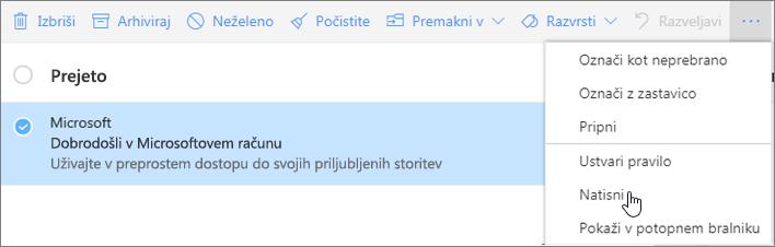 Posnetek zaslona prikazuje možnost »Natisni«, ki je izbrana za e-poštno sporočilo.