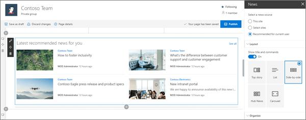 Vzorčni vnos spletnih gradnikov za novice za sodobno spletno mesto skupine v SharePoint Onlineu