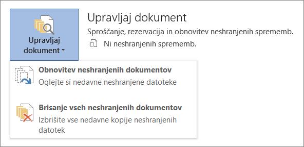 Možnost »Upravljanje dokumentov« v programu Office 2016