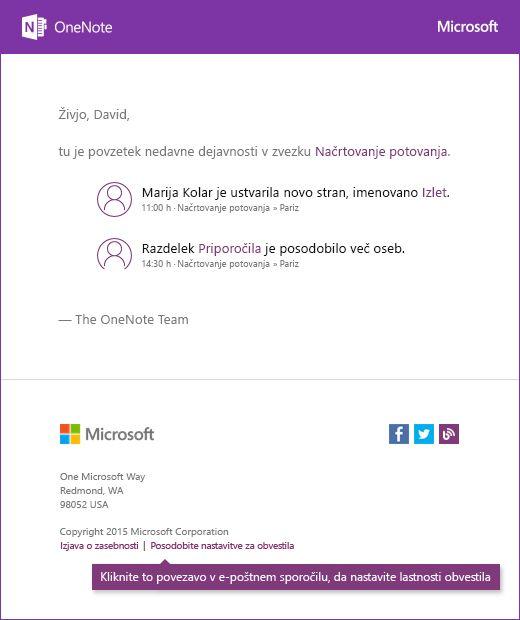 Vzorec OneNote obvestilo e-poštnega sporočila