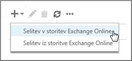 Izbor možnosti »Selitev v Exchange Online«