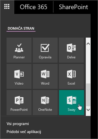 Posnetek zaslona podokna z aplikacijami z aktivno ploščico »Sway«.