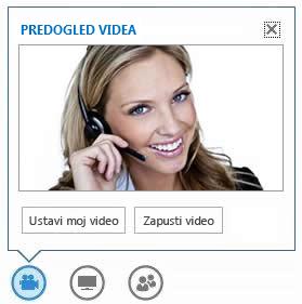 Posnetek zaslona možnosti, ki se prikažejo, ko se s kazalcem miške postavite na gumb »Video«
