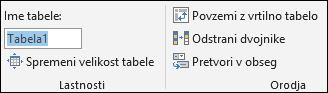Slika ime polja v Excelu vnosno vrstico preimenujete tabele