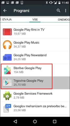 Počisti predpomnilnik programa iz Trgovine Google Play