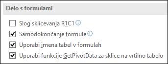 Datoteka > Možnosti > Formule > Delo s formulami > Slog sklicevanja R1C1