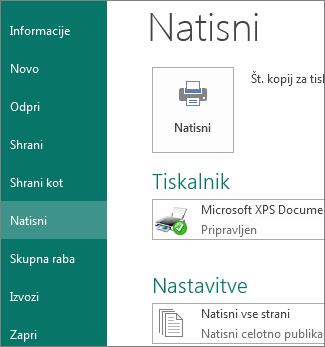 Posnetek zaslona možnosti »Natisni« v Publisherju.