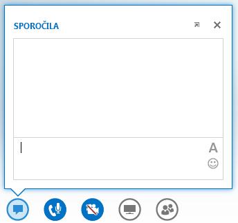 Posnetek zaslona okna za neposredno sporočanje, ki se prikaže, če se s kazalcem miške postavite na gumb za neposredno sporočanje