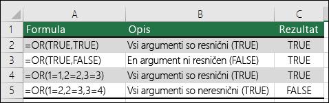 Primeri uporabe funkcije OR.