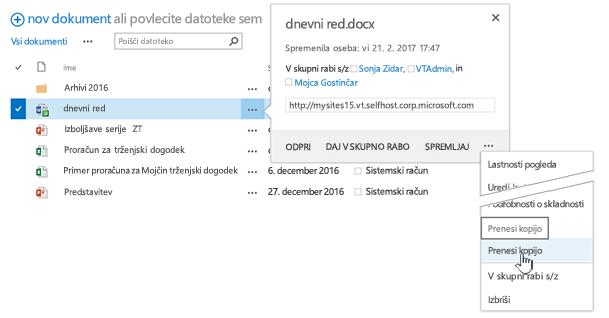 Prenos datoteke prek treh pik