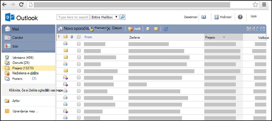 Posnetek zaslona mape »Prejeto« v poenostavljeni različici aplikacije Outlook Web App