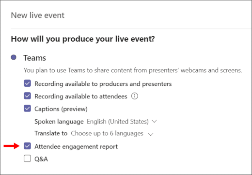 Attendee engagement report checkbox screen