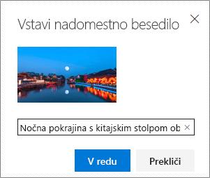 Pogovorno okno nadomestno besedilo v Outlooku v spletu.