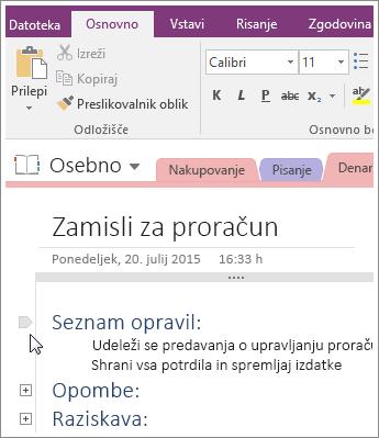 Posnetek zaslona strnitve orisa v programu OneNote 2016.