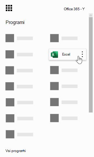 Zaganjalnik aplikacij storitve Office 365 z označeno aplikacijo Excel