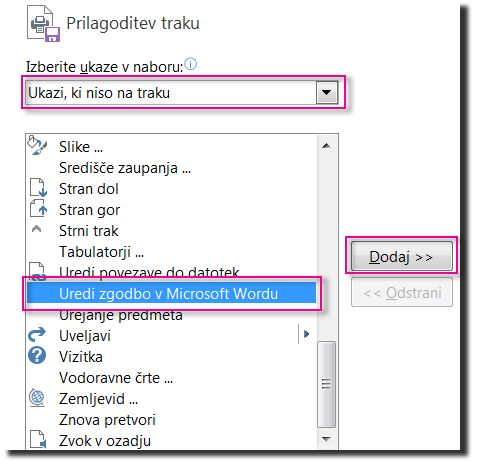 Dodajanje gumba »Uredi zgodbo v Microsoft Wordu« na orodno vrsto za hitri dostop