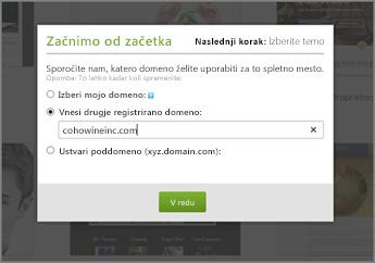 Na spletnem mestu GoDaddy First things first vnesite domeno, ki je registrirana drugje.
