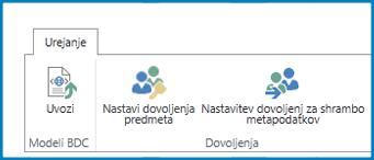 Posnetek zaslona traku »Urejanje« v razdelku »Nastavitve storitev za poslovno povezanost« s prikazom gumba »Uvoz modela BDC« in prikazom nastavitev dovoljenj.