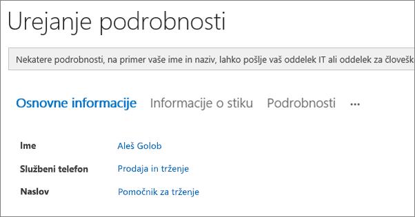 Posnetek zaslona strani za urejanje podrobnosti za uporabnika v storitvi Yammer.