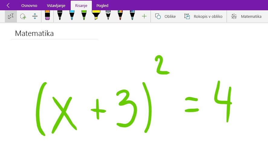 Zapisovanje matematične enačbe v programu OneNote za Windows 10