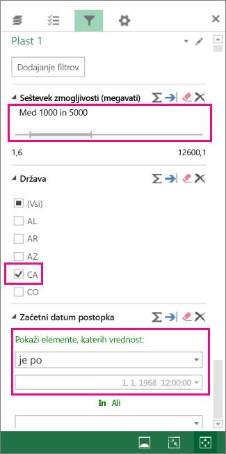 Filtri za števila, besedilne vrednosti in datume