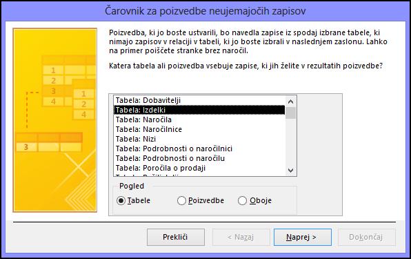 Izberite tabelo ali poizvedbo v pogovornem oknu čarovnika za poizvedbe za iskanje neujemajočih zapisov