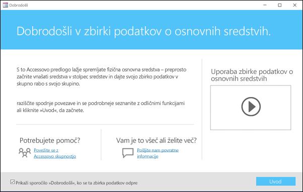 Obrazec »Uvod« v predlogi Accessove zbirke podatkov za osnovna sredstva