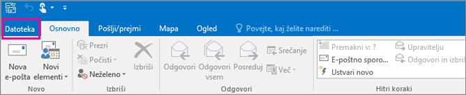 Tako je videti trak v programu Outlook 2016.