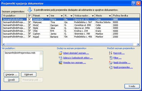 Osnoven poštni seznam pogovornega okna »Prejemniki spajanja dokumentov«.