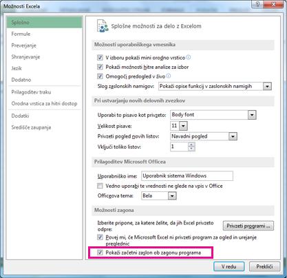 Možnosti zagona v pogovornem oknu »Excelove možnosti«