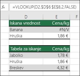 Iskana vrednost ne obstaja.  Formula v celici E2 je =VLOOKUP(D2,$D$6:$E$8,2,FALSE).  Vrednosti Banana ni mogoče najti, zato formula vrne napako #N/A.