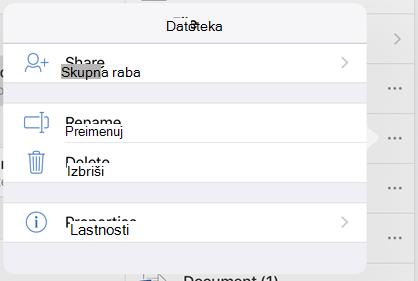 Preimenujte datoteko tako, da tapnete gumb 3 pike in Preimenuj