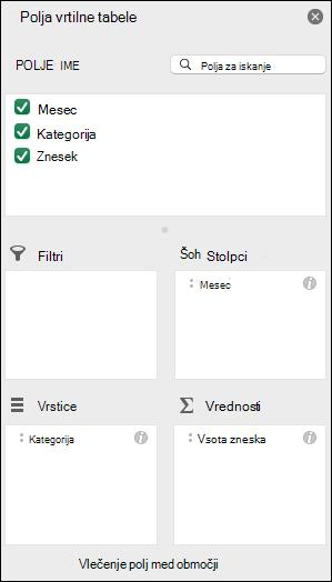 Primer pogovornega okna s seznamom polj Excelove vrtilne tabele