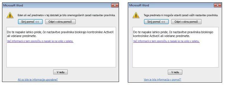 Sporočilo o napaki v zvezi z vdelanim predmetom ali kontrolnikom ActiveX