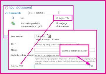 Stolpec »Upravljani metapodatki« omogoča, da uporabniki izberejo vnaprej določene vrednosti, ki jih vnesejo v stolpec z lastnostmi dokumenta.
