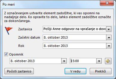Pogovorno okno po meri za nastavljanje opomnikov, začetnih in končnih datumov