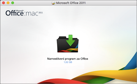 Posnetek zaslona Officeovega namestitvenega programa za Office za Mac 2011