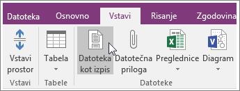 Posnetek zaslona gumba »Izpis datoteke« v programu OneNote 2016.