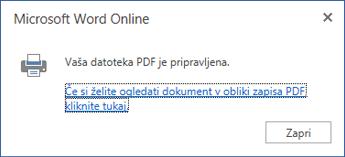 Pogovorno okno za tiskanje v programu Word Online