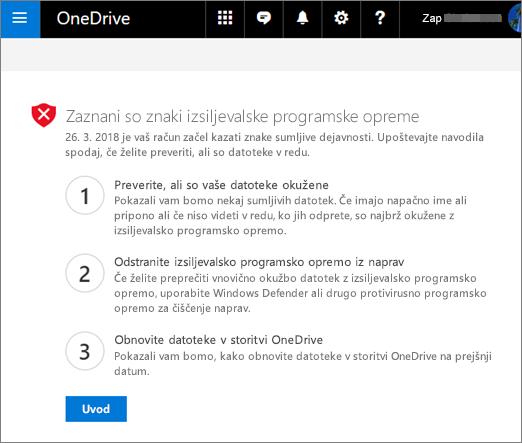 Posnetek zaslona znaki ransomware zaznane zaslon na spletnem mestu storitve OneDrive