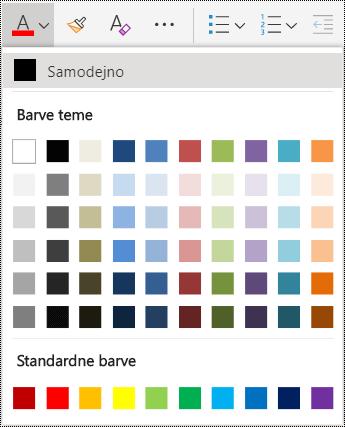 Menijske možnosti za barvo pisave v storitvi OneNote Online.