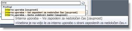 Uporabniki lahko na podlagi opisnega besedila izberejo pravilni izraz.