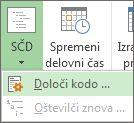 Slika možnosti »Določi kodo« gumba SČD.
