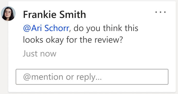 Slika pripombe, ki prikazuje polje» @mention «ali» odgovor «. Kliknite v polje z besedilom, da začnete nov odgovor na povezano nit pripombe.