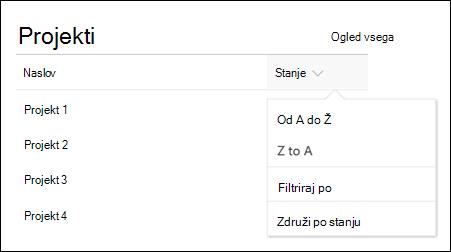 Seznam spletnih gradnikov z menijem» razvrsti «,» filtriranje «in» skupina «