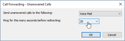 Preusmeritev klicev Skype zvonjenje za to veliko število sekund