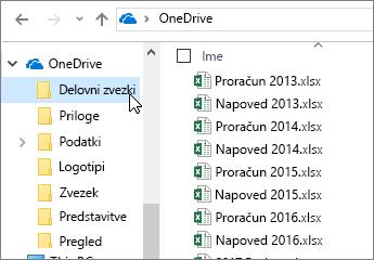 Mapa raziskovalec, OneDrive, Excelove datoteke