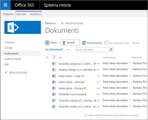Slika, kako je videti knjižnica dokumentov potem, ko vanjo prenesete datoteke.
